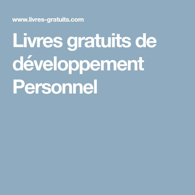 Livres gratuits de développement Personnel