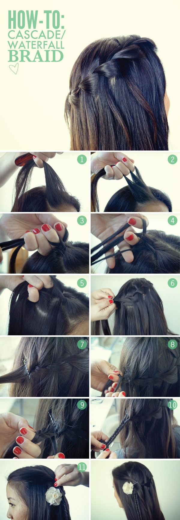 How-To: The Cascade/Waterfall Braid | BeautylishFrench Braids, Braids Hairstyles, Cascading Waterfal, Waterfal Braids, Long Hair, Cascading Braids, Hairstyles Tutorials, Hair Style, Waterfall Braids