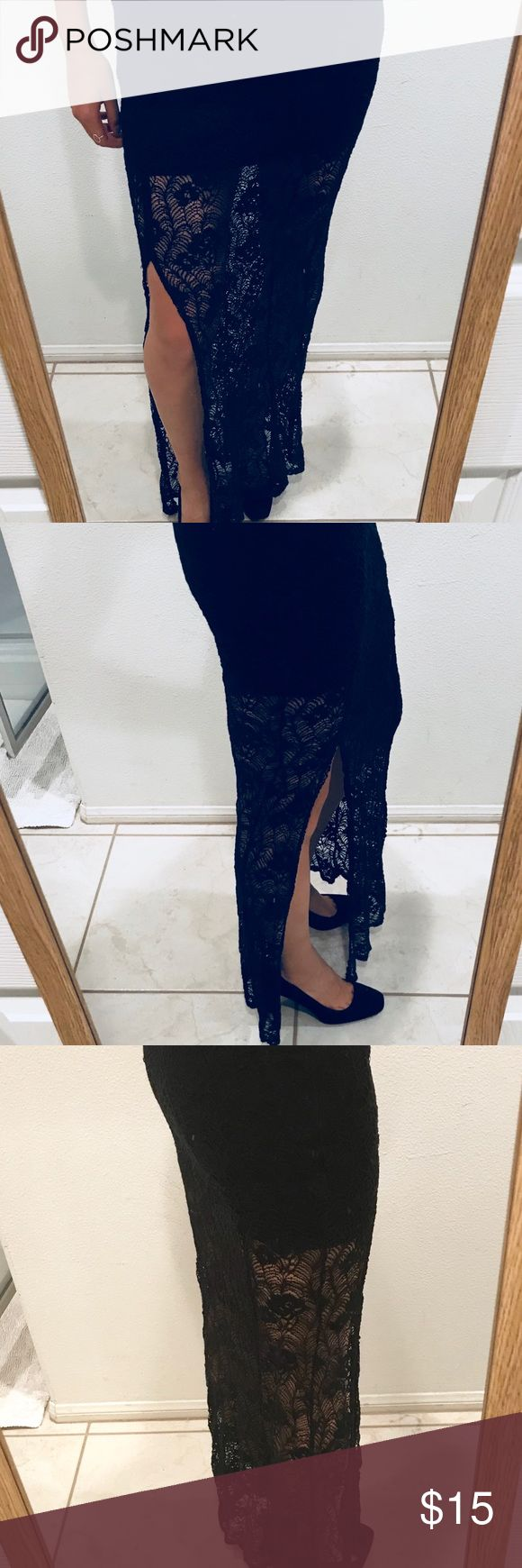 Cute black lace maxi skirt with thigh slit Trendy piece for your wardrobe. Super cute with a tank or simple top. Fits size 4/6 bottoms. Zipper completely zips but missing the top metal clasp. Tobi Skirts Maxi