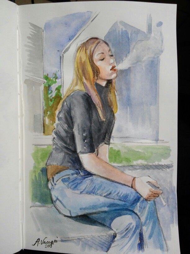 Alf.   Ragazza che fuma #watercolor #acquerello