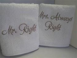 Personalised Hand Towel Set. A lovely gift for a happy couple on their Wedding Day - 'Mr. Right' and 'Mrs. Always Right' WowWee.ie