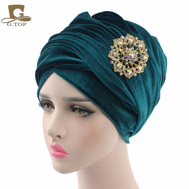 NEW luxury velvet Turban hijab Head Wrap Extra Long velour tube indian Headwrap Scarf Tie with the jewelry brooch