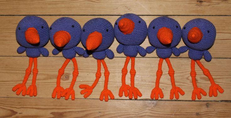Crocheted bird (Purple & Orange) - Thumbnail 3