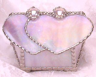 "Iridescent Pink Stained Glass Jewelry Box - 2 Hearts - 3"" x 5"" - $26.95  - Handcrafted Stained Glass Heart Design  * More at www.AccentOnGlass.com"