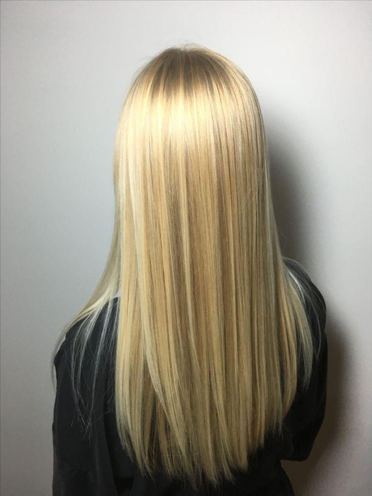Baby blonde highlights long hair