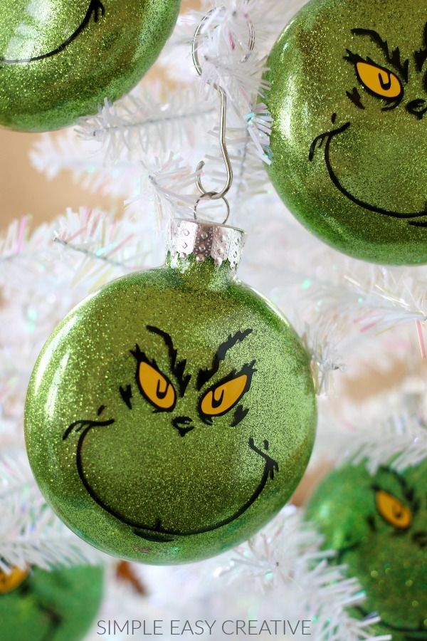 Grinch Ornaments :: Make your own Grinch Christmas Ornaments or give them  as gifts! #simpleeasycreative #hoosierhomemade #grinchornaments ... - Grinch Ornaments :: Make Your Own Grinch Christmas Ornaments Or Give