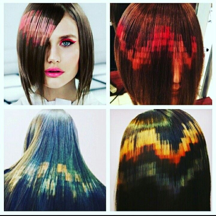 Pixelated hair color. A big hit at the color cut and style show last weekend, any volenteers