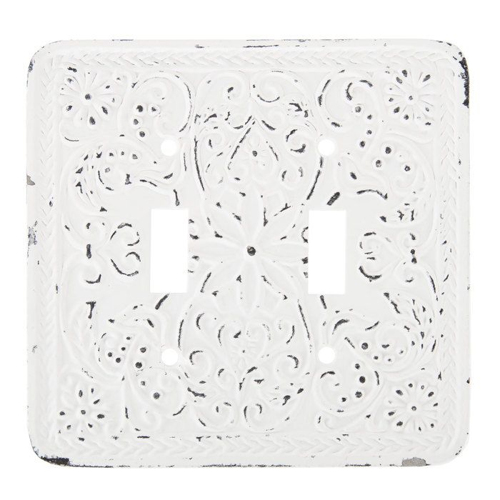 Distressed White Floral Metal Double Switch Plate Hobby Lobby 1481506 Switch Plates Distressed White Rental Decorating