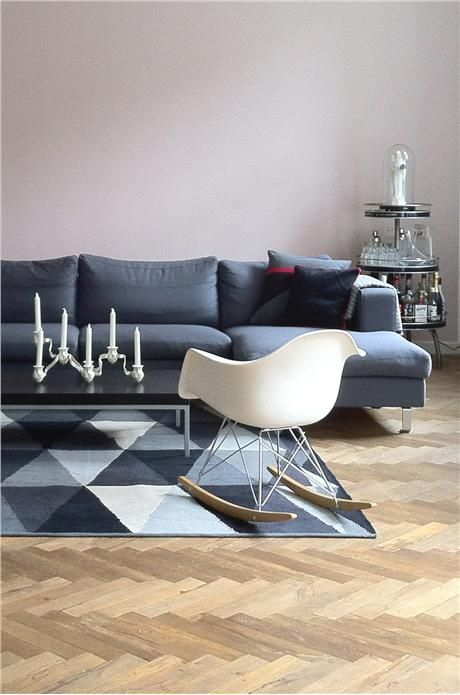 An inspirational image from Farrow and Ball SCANDINAVIAN DESIGN WITH FARROW & BALL 65 Contributed by Marcel Awesome Calamine on the wall  Styles:  Contemporary , Eclectic  Rooms and spaces:  Living Room