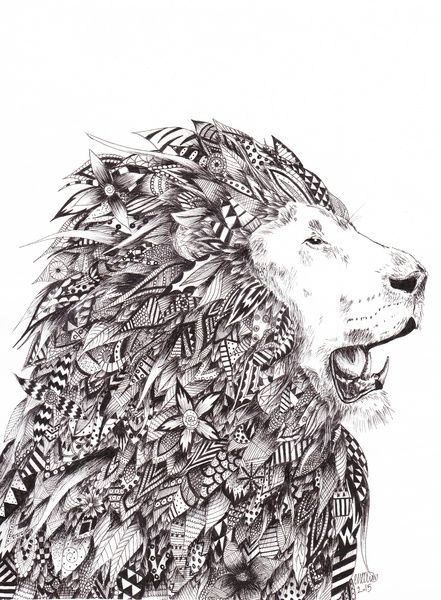 Zentangle Lion by Carrie Williams