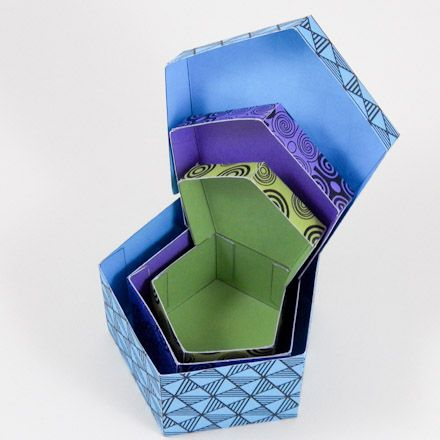 Make nesting pentagonal-shaped boxes - printable patterns.