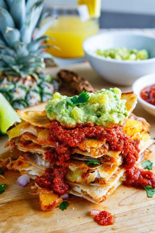 Quesadillas al Pastor with Pineapple Salsa and Pineapple Guacamole