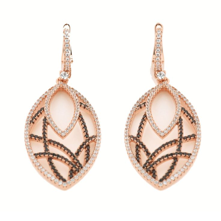 Σκουλαρίκια : Σκουλαρίκια Verita True Luxury Aπό Ασήμι Rose Gold-Λευκό-Καφέ