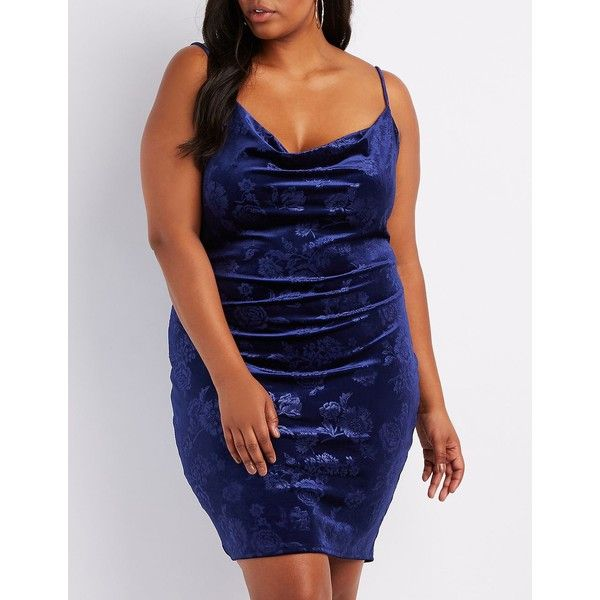 Charlotte Russe Floral Velvet Cowl Neck Bodycon Dress ($20) ❤ liked on Polyvore featuring plus size women's fashion, plus size clothing, plus size dresses, navy, blue cocktail dress, floral bodycon dress, plus size cocktail dresses and navy cocktail dresses