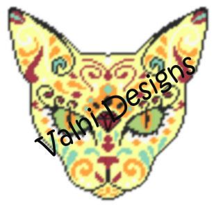 Sugar Skull Cat PDF Instant Download Plastic by ValniDesigns