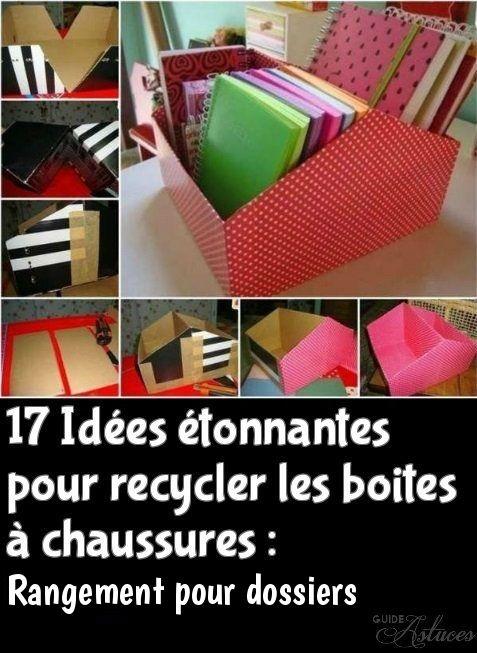 17 Idées étonnantes pour recycler les boites à chaussures :Rangement pour…
