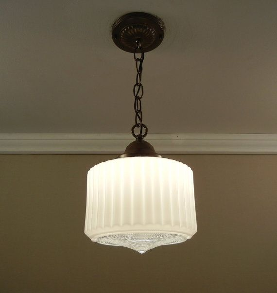 Vintage Art Deco Pendant Light 1930 39 S Milk Glass Shade Solid Brass Ceiling Fixture Rewired