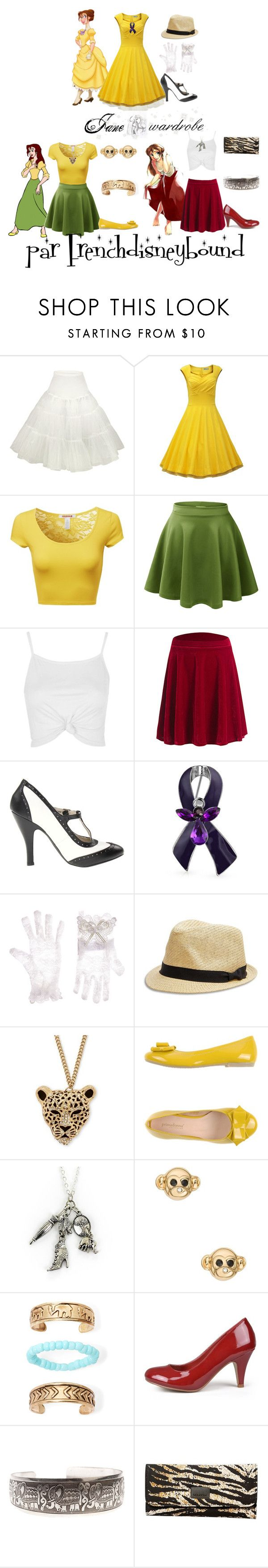 """Jane (Tarzan)"" by frenchdisneybound ❤ liked on Polyvore featuring Retrò, Disney, Topshop, Bling Jewelry, Monsoon, Lucky Brand, Palm Beach Jewelry, PrimaDonna, Kate Spade and Arizona"