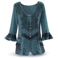Pagan Tops Wicca Witch:  Embroidered Celtic Top.