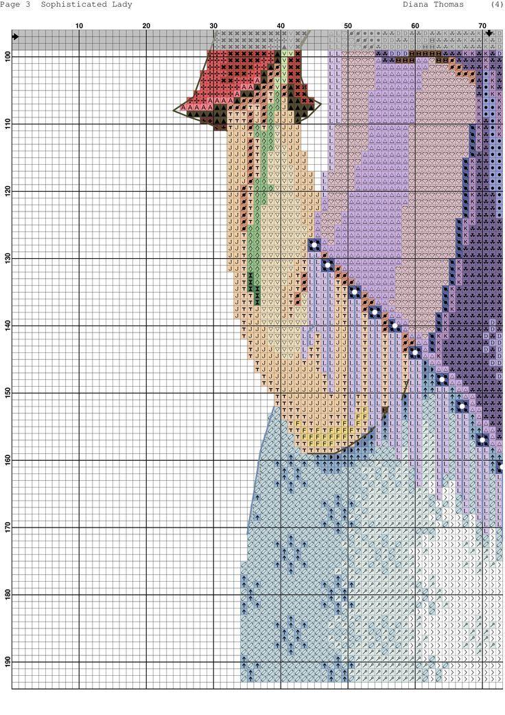0 point de croix femme au chapeau rouge et chale violet - cross stitch lady with red hat and purple shawl part 5