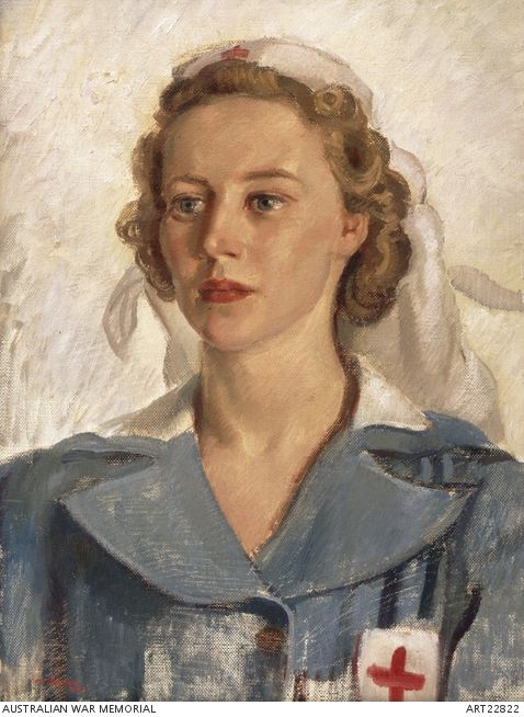 Portrait of NFX173196 Private Gwynneth Patterson, Australian Army Medical Women's Service (AAMWS), 2nd Australian Blood and Serum Preparations Unit. by Nora Heysen.