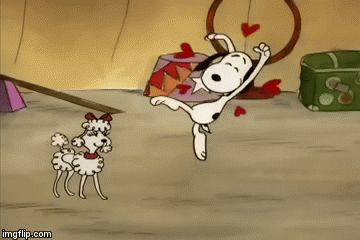 'The Love Dance❤️', Snoopy finds a Poodle Girlfriend, GIF<<<dance, I have never seen his eyes do that!