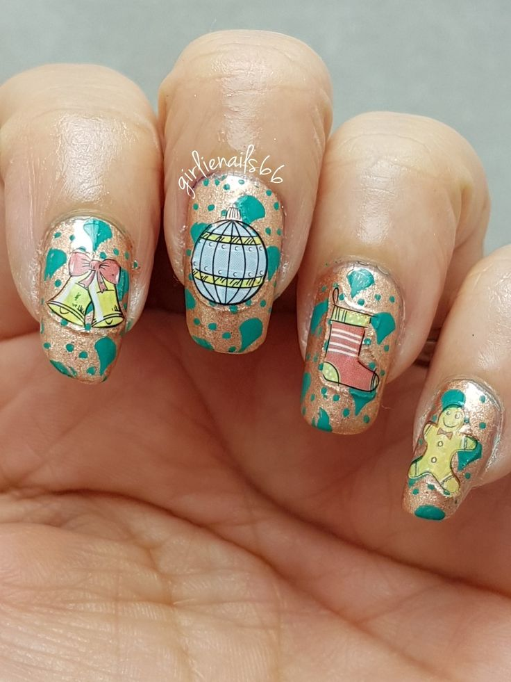 Christmas Wrapping paper nails  Stickers from @nailstuff.ca