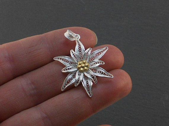 silver filigree pendant edelweiss