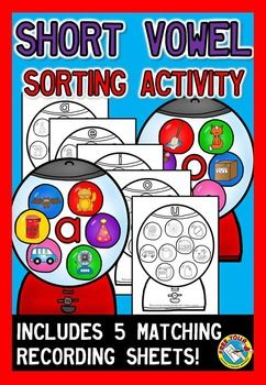 This resource pack is a great tool for students to identify #short #vowel #sounds in simple #cvc words! Included are 5 gumball machine sorting mats, 30 #gumballs with picture and 5 #recording sheets, 1 for each short #vowel sound (a, e, i, o, u).  Instructions: Shuffle all gumballs and place them on a table, together with the sorting mats. Students name the picture depicted on each gumball and then place each gumball onto the gumball machine with the corresponding short vowel sound.
