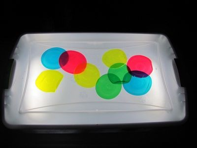 DIY light table, using a clear plastic tub with clear lid, plastic primer, metallic (silver) paint, and frost paint, and battery-powered florescent lights--I really want to try this!!!