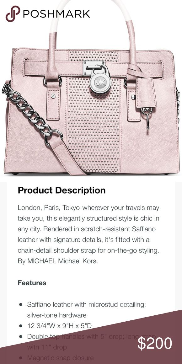 Michael Kors Microstud Hamilton Center Stripe E-W Pink Michael Kors Microstud Hamilton Center Stripe East West Satchel. See photos for full description and dimensions.   **NO TRADES** Michael Kors Bags Satchels