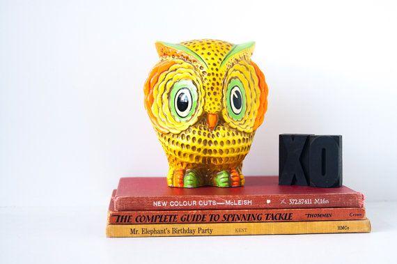 I Look After Your Money | Vintage Neon Owl Piggy Bank | Mid Century Modern Piggy Bank | Money Bank | Rare Artamount Owl