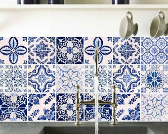 Stickers Autocollants - stickers carrelage pour plancher cuisine salle de bains - PACK de 20 - Mexique, Maroc Portugal mosaïque de tuiles qualité 3M #18