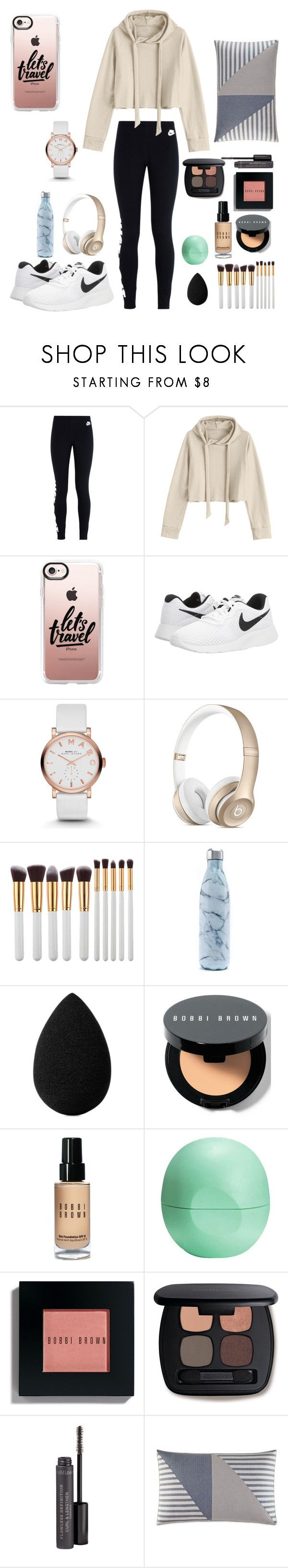 """Long Travels ☉"" by look-in-the-clouds ❤ liked on Polyvore featuring NIKE, Casetify, Marc by Marc Jacobs, My Makeup Brush Set, S'well, beautyblender, Bobbi Brown Cosmetics, Eos, Bare Escentuals and Nautica"