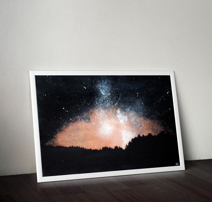 For sale: Acrylic original painting NIGHT SKY, beautiful home decor, abstract painting, milky way