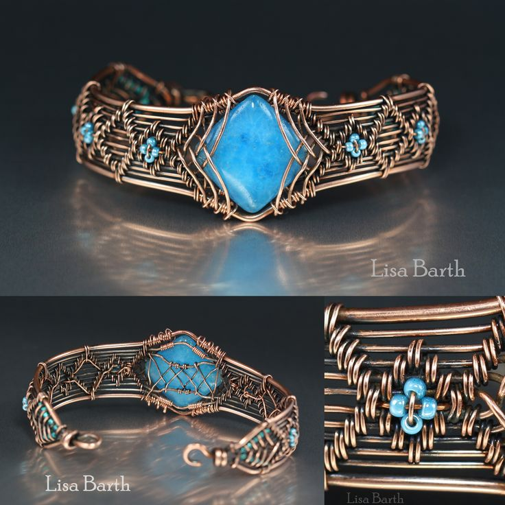 Hand woven in copper wire with a blue quartz as the centerpiece.  Lisa Barth