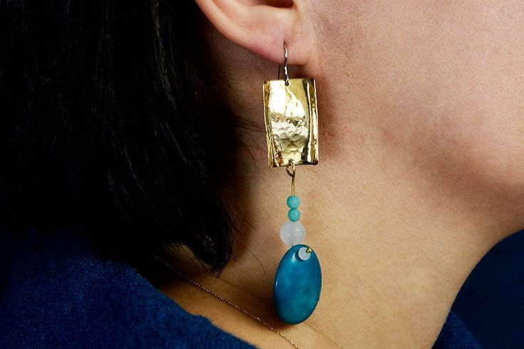 Long modern earrings, tagua jewelry, turquoise bead drop, hammered earring, extra long earring, shoulder earrings, chunky statement earring by ColorLatinoJewelry on Etsy