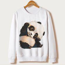 Panda Imprimir Polerones Mujeres Sudadera Hodies Sudaderas Mujer 2017 Otoño Ocasional de La Manga Completa Animal de la Historieta Moleton Feminino XL(China (Mainland))