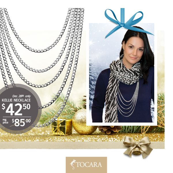 On the Eighth day Day of Christmas, Tocara gave to me...  December 28th - Kellie necklace at HALF PRICE.   Kellie necklace for only $42.50 (reg. price $85) | Stainless Steel.  To purchase ask your consultant or click the image.