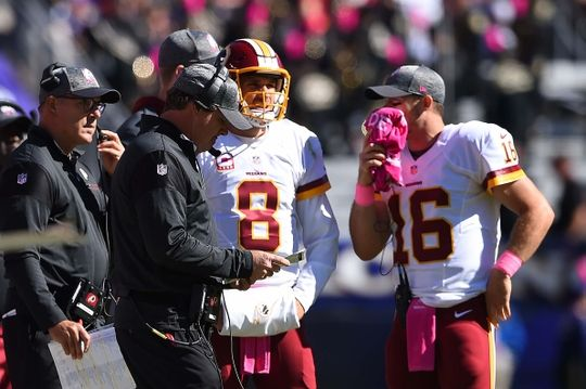 Redskins vs. Reavens  -  Oct 9, 2016:   16-10, Redskins  -    Washington Redskins head coach Jay Jay Gruden speaks with quarterback Kirk Cousins (8) and quarterback Colt McCoy (16) during a time out during the second quarter against the Baltimore Ravens at M&T Bank Stadium. Mandatory Credit: Tommy Gilligan-USA TODAY Sports