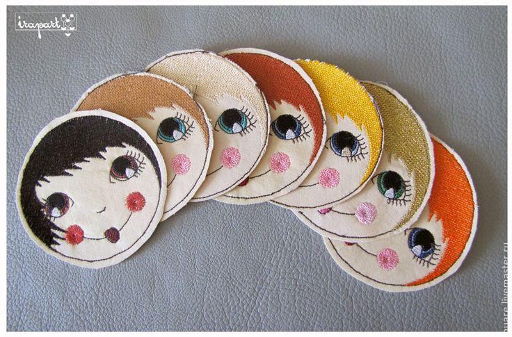 """Купить Вышитые личики на игрушку-подушку """"Матрёшка"""" - разноцветный, матрёшка, вышивка, заготовка, нашивка"""