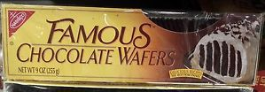 Nabisco Famous Chocolate Wafers 9 oz Use to Make Ice Box Cake | eBay  This is the best dessert! Cookies and either cool whip or whip cream layer it and put in the frig and it turns into the most amszing cake.