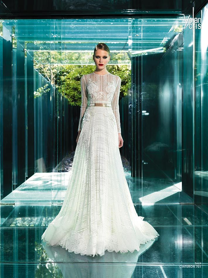 Vintage Collection YolanCris 2015 Wedding Dresses Featured Pleated Tulle Italian Rebrode Lace Silk Chiffon Fine Rhinestones And Gorgeous Embroidery