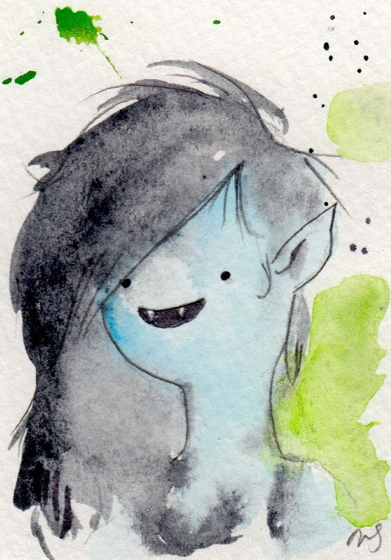 Marceline Micro print / Archival reproductions 3.5x2.5 artist card. Adventure Time Fan Art Watercolor Painting Drawings