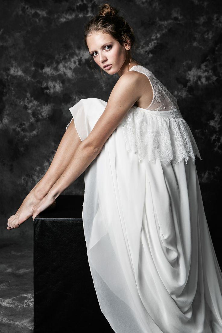 Pureza Mello Breyner Atelier - Bridal boho dress in silk crepe and french lace #bride #modern #lace #cotton #silk #romantic #bridal #dress #designer #satin #handmade #by #measure #wedding #boho  #wedding #crepe #french