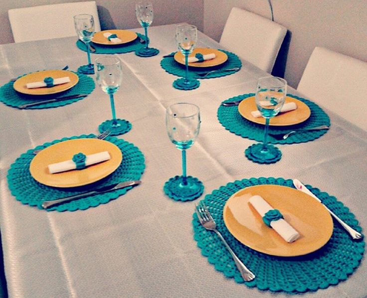 Cute crochet table setting. *photo only*