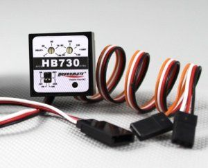 US Ship Hobbymate HB730 Headlock Gyro for 450 500 Electric Rc Helicopters by HOBBYMATE. $19.90. Hobbymate HeadLock Gyro for 450, 500 Rc Helicopter. Angular acceleration commands used Sensor vibration proofing. Work with both analog and digital servo. Great Performance on Electric 450, 500 Helicopters. Dual Rate, AVCS Tail Lock Gyro. Dimension(mm):25x25x15 **   Weight: 20g **   Digital proportional R/C system **   Operating voltage:4.8V-6V (common for receiver) ** ...