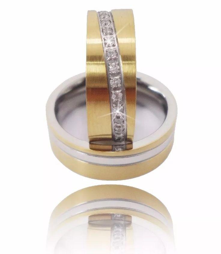 alianças folheadas ouro 18k com cinta de zirconia frete free