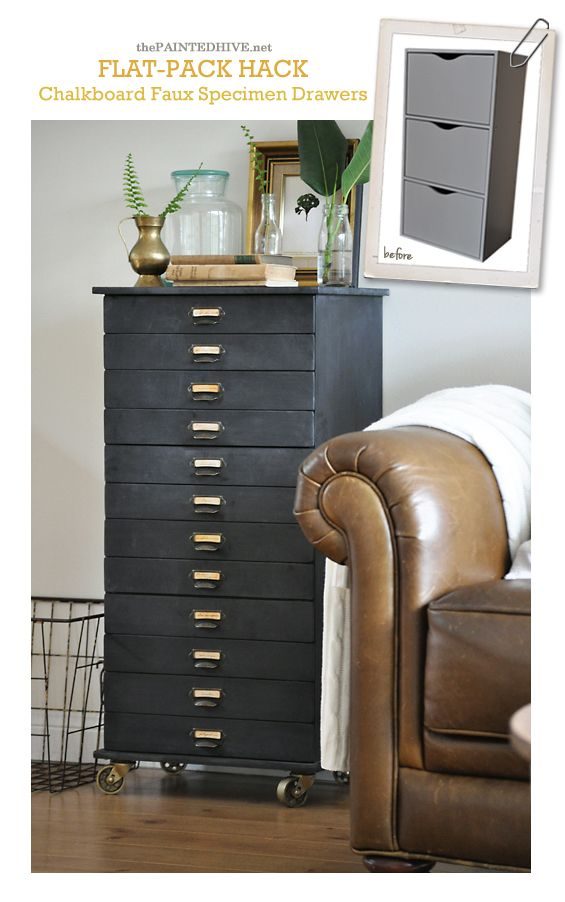 DIY Faux Multi-Drawer Chalkbaord Cabinet Redo | The Painted Hive