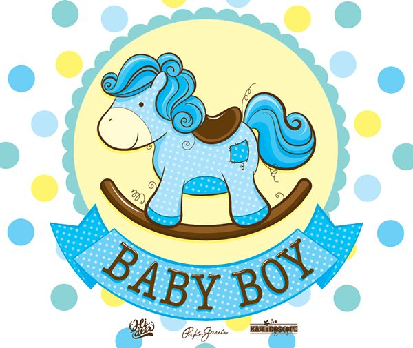 cute illustration of a baby rocking horse for Kaleidoscope